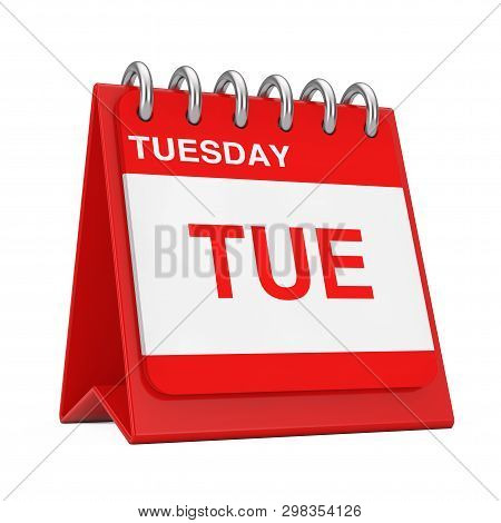 Red Desktop Calendar Icon Showing A Tuesday Page On A White Background 3d Rendering