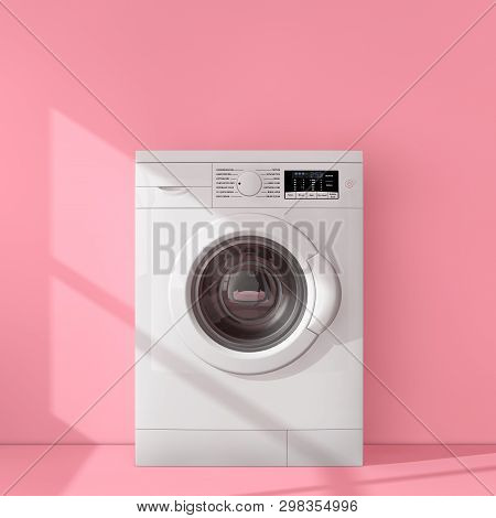 Modern White Washing Machine In Pink Room Extreme Closeup. 3d Rendering