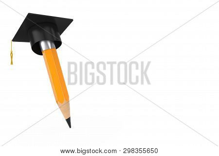 Yellow Pencil With Academic Or Graduation Hat On A White Background 3d Rendering