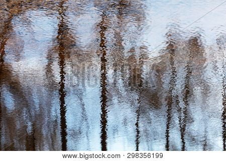 Dark Trunks Of Trees Reflected In Unsteady Water. Abstract Photo With Selective Focus