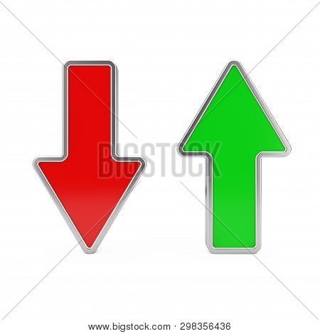 Red Arrow Down And Green Arrow Up On A White Background. 3d Rendering