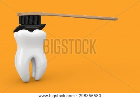 White Tooth And Wooden Bamboo Tooth Brush With Black Charcoal Toothpaste On A Yellow Background 3d R