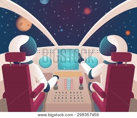Pilots In Spaceship. Shuttle Cockpit With Pilots In Costumes Vector Cartoon Space With Planets. Illu