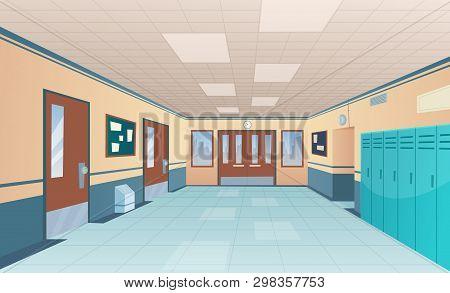 School Corridor. Bright College Interior Of Big Hallway With Doors Classroom With Desks Without Kids