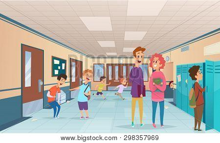 School Break. Trouble Pupils And Students Disorganized At School Break In Corridor Vector Cartoon Ch
