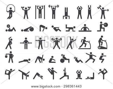Fitness Symbols. Sport Exercise Stylized People Making Exercises Vector Icon. Fitness Exercise, Trai