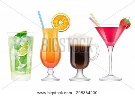 Summer Cocktails Realistic. Alcoholic Drinks In Glasses With Ice Tropical Fruits Irish Coffee Vodka