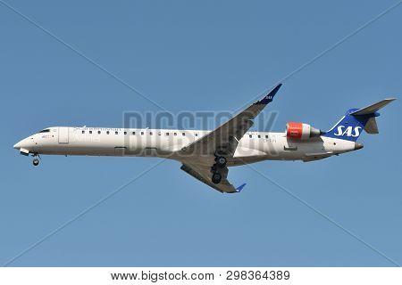 Vilnius, Lithuania - April 23: Sas Bombardier Crj-909er Airplane On April 23, 2019 In Vilnius Lithua