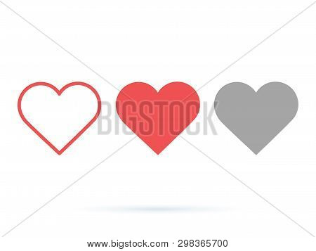 Heart Vector Collection. Love Symbol Icon Set. Like Buttons Active And Done. Ui Ux Design Elements F