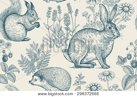Forest Animals And Plants Seamless Pattern. Hare, Hedgehog, Squirrel, Berries Strawberry, Flowers La