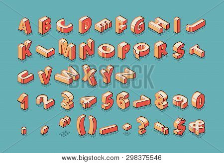 Isometric Alphabet, Numbers And Punctuation Marks Standing And Lying In Raw On Blue Retro Colored Ba
