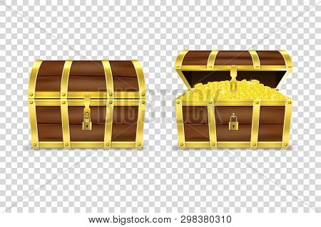 Vector 3d Realistic Closed And Opened Retro Vintage Antique Old Treasure Wooden Pirate Dower Chest W