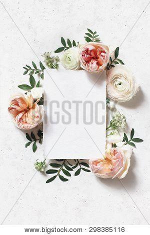 Feminine Wedding, Birthday Mock-up Scene. Blank Paper Greeting Card. Floral Frame Of Blush Pink Engl