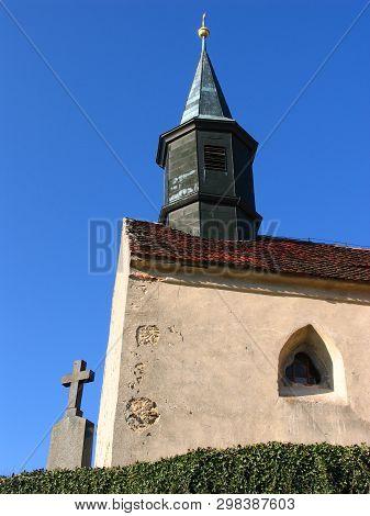 Church In Chvojinek Near Benesov, Typical Czech Church On Hill