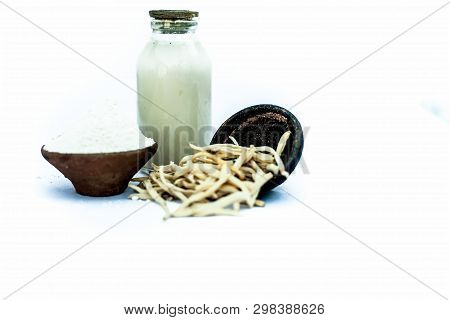 Popular Indian & Asian ayurvedic herb isolated on white in a clay bowl i.e. Musli or safed musli or Chlorophytum borivilianum with its powder in a clay bowl and raw milk in a transparent glass bottle. poster
