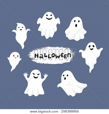 Happy Halloween, Ghost, Scary White Ghosts. Cute Cartoon Spooky Character. Smiling Face, Hands. Blue
