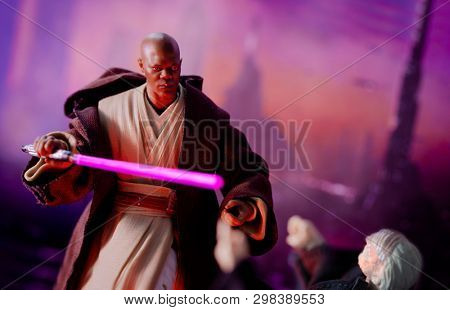APRIL 27 2019: Recreation of a scene from Star Wars The Phantom Menace, where Jedi Master Mace Windu confronts senator Palpatine