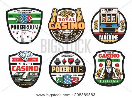 Casino Icons, Gamble Game Poker Cards And Dices. Vector Casino Symbols, Golden Horseshoe And Croupie