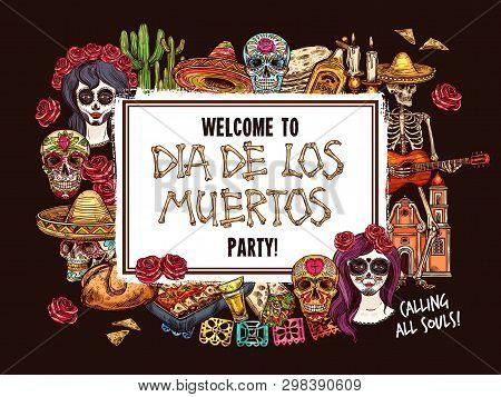 Day Of The Dead Mexican Holiday Skull, Dia De Los Muertos Catrina And Halloween Skeleton Sketch. Dea