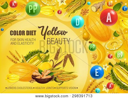 Color Diet Healthy Nutrition, Yellow Food Vitamins And Minerals. Vector Natural Organic Fruits, Cere