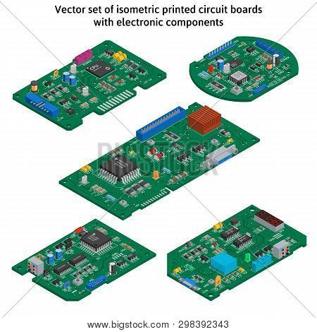 Vector Set Of Isometric Printed Circuit Boards With Electronic Components