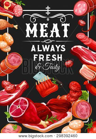 Butchery Meat And Grocery Sausages, Meaty Products. Vector Smoked Veal, Mutton Ribs Or Butcher Shop