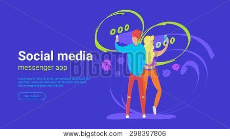 Chat For Friends Concept Vector Illustration Of Young People Using Smartphones For Sending Messages