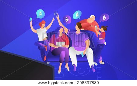 Tv Quiz Show Concept Flat Vector Illustration Of Family Sitting On Couch At Home And Playing. Happy