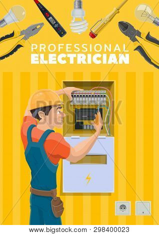 Electrician Or Electric Repairman Profession And Electricity Repair Tools. Vector Electric Power Wir