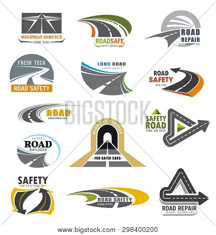 Roads Construction Company And Transport Communications Safety Service Icons. Vector Highway Repair
