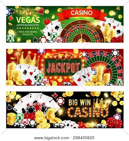 Casino Gambling Games, Wheel Of Fortune Roulette, Poker Dices And Playing Cards. Vector Casino Banne