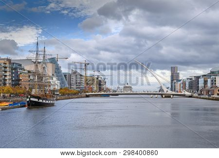 View Of Liffey River In Dublin With Samuel Beckett Bridge, Ireland