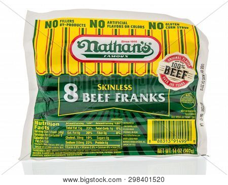 Winneconne, Wi -  22 April 2019: A Package Of Nathans Famous Skinless Beef Franks On An Isolated Bac