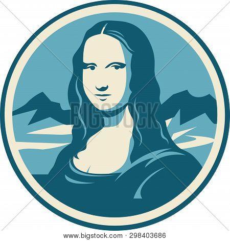Leonardo Da Vinci Mona Lisa Portrait Vector Illustration