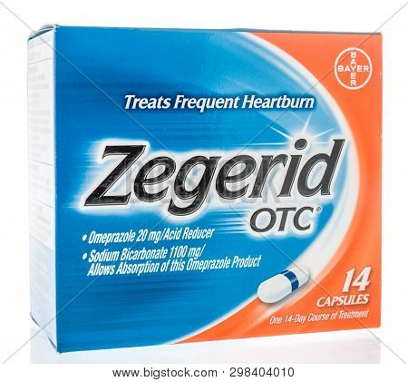 Winneconne, Wi -  26 April 2019: A Package Of Zegerid Otc Medicine For Heartburn On An Isolated Back