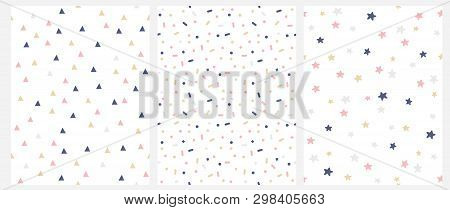 Set Of 3 Geometric Seamless Vector Pattern With Pink, Gold And Gray Dots, Triangles, Stars Isolated