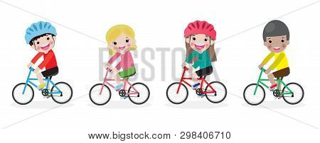 Happy Kids On Bicycles, Children Riding Bike,kids Riding Bikes, Child Riding Bike, Child On Bicycle