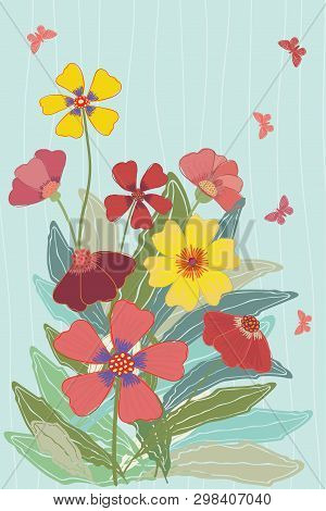 Bright Multicolor Meadow Flowers And Butterflies Illustration On Subtly Striped Soft Blue Background
