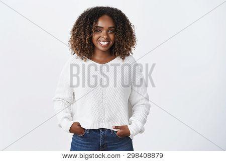 Girl Having Fun Talking To Interesting Person. Portrait Of Joyful Charismatic Smiling African-americ