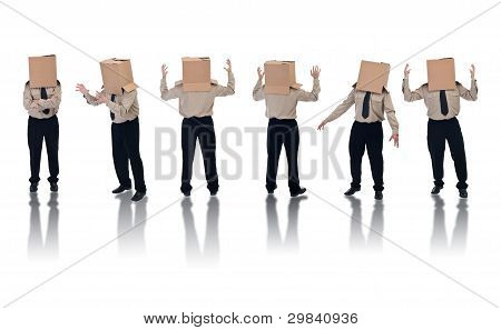 Box Headed Businessman With Reflection