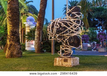 Cannes, France - July 05, 2015: Sculpture At The Palace Of Festivals And Congresses