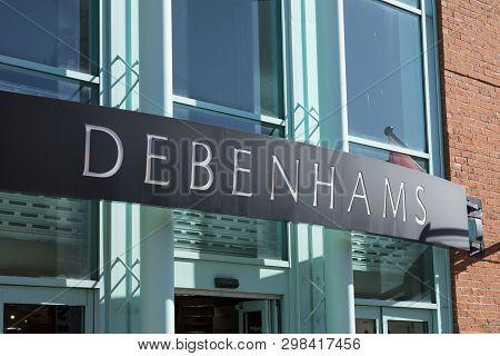 Debenhams Entrance And Sign, Lincoln, Lincolnshire, Uk - 5th April 2018