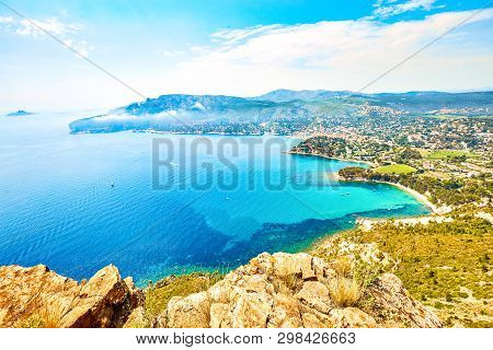 Panoramic View Of Cassis Town, Route Des Cretes Mountain Road, Provence, France