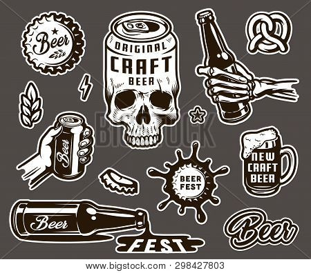 Vintage Brewing Monochrome Elements Collection With Beer Can Shaped Skull Cap Wheat Ear Pretzel Mug