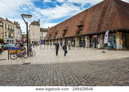 Beaune, France - August 10, 2017: Tourist Centre In The City Of Beaune Near The Famous Building Hote