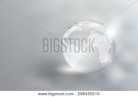 The Crystal Glass World Reflects The Clarity. Focus On Europe And Asia, Used In Global Business And
