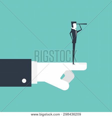 Businessman With Telescope Searching For Opportunities And Boss Hand Pointing The Best Direction.