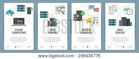 Vector Set Of Vertical Web Banners With Cloud Computing, Data Mining, Server Database And Data Cente