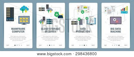 Vector Set Of Vertical Web Banners With Mainframe Computer, Cloud Storage Security,  Data Protection