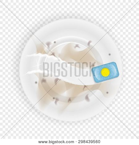 Dirty Dish And Tablets For The Dishwasher. A Realistic Illustration For Advertising. Washing Dishes